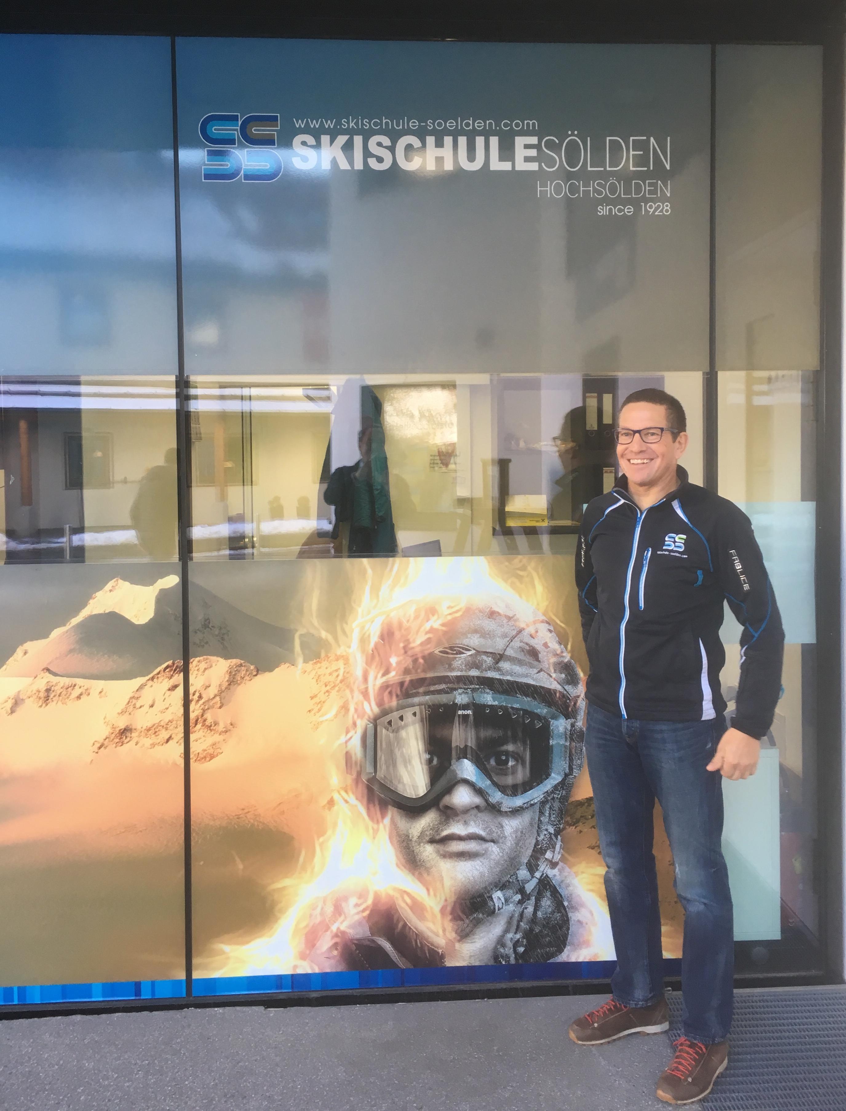 Gotthard Gstrein in front of the Ski school